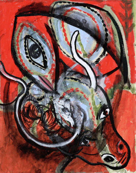 Painting - Orange Animals by Artist Dot