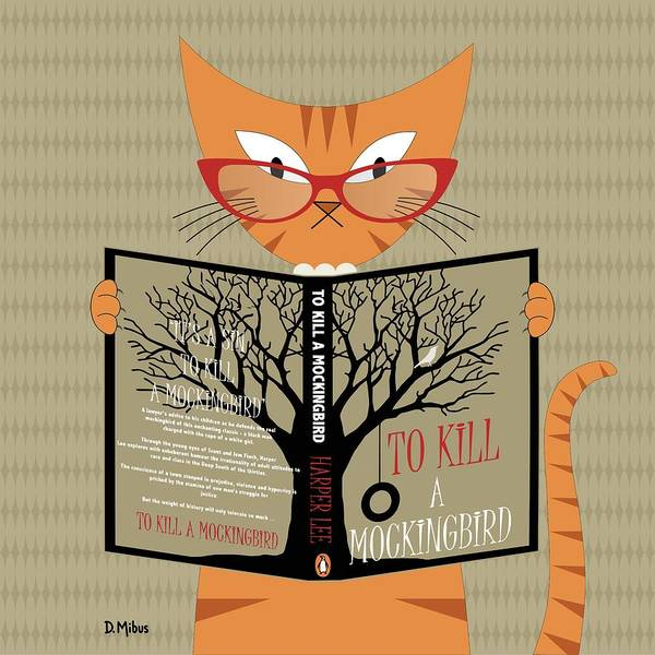 Digital Art - Orange Cat Reading by Donna Mibus