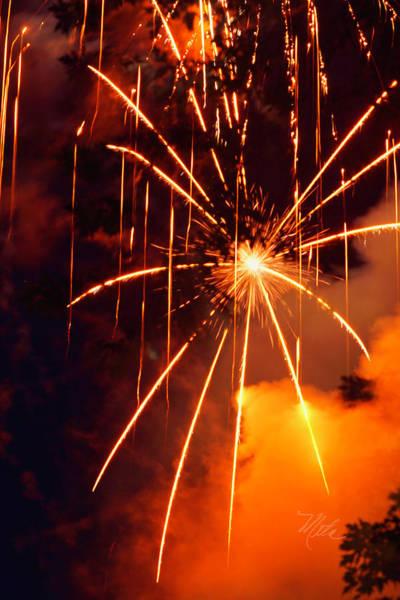 Orange Fireworks Art Print
