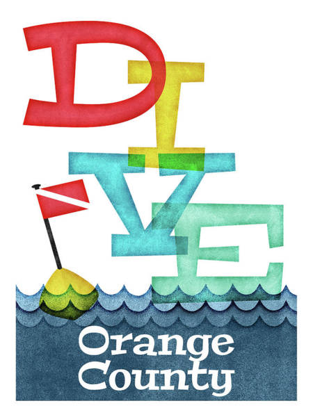 Orange County Digital Art - Orange County Dive - Colorful Scuba by Flo Karp
