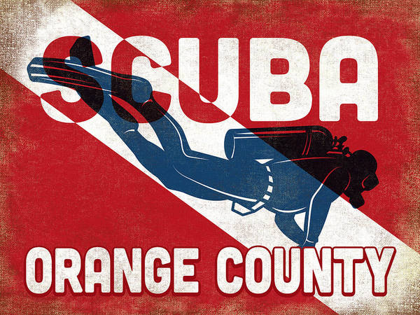 Orange County Digital Art - Orange County Scuba Diver - Blue Retro by Flo Karp
