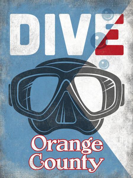 Orange County Digital Art - Orange County Vintage Scuba Diving Mask by Flo Karp