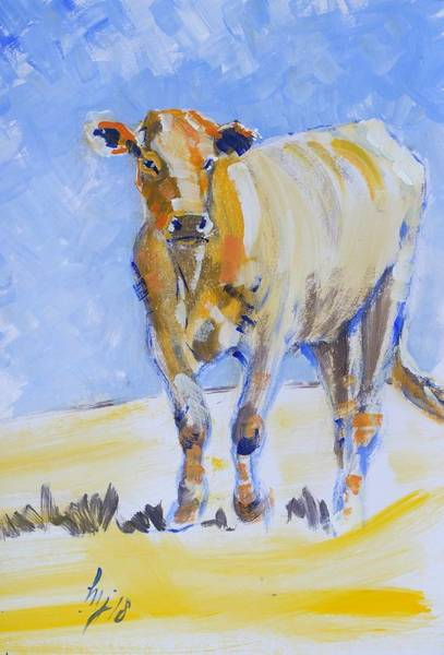 Painting - Orange Cow Painting by Mike Jory