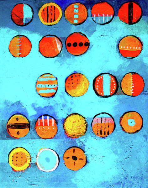Wall Art - Painting - Orange Dots by Nancy Merkle