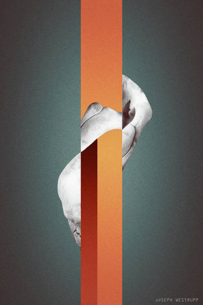 Photograph - Orange Endobrume - Surreal Abstract Elephant Bone Collage With Rectangles by Joseph Westrupp