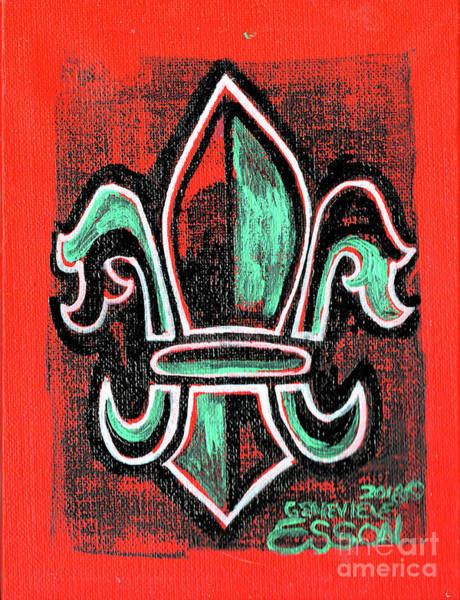 Wall Art - Painting - Orange Fleur De Lys With Green by Genevieve Esson