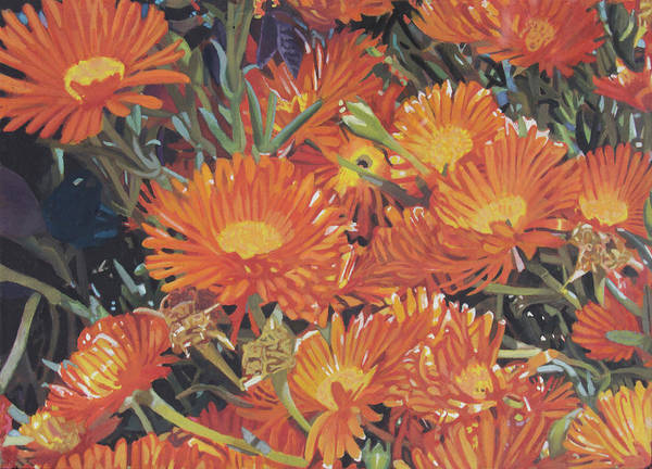 Painting - Orange Flowers by Bert Ernie