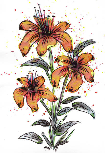 Mixed Media - Orange Flowers by ZeichenbloQ