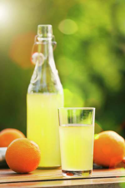 Lemonade Wall Art - Photograph - Orange Lemonade In The Garden by Gregor Schuster