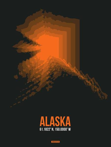 Wall Art - Digital Art - Orange Map Of Alaska by Naxart Studio