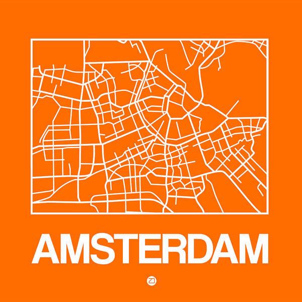 Wall Art - Digital Art - Orange Map Of Amsterdam by Naxart Studio