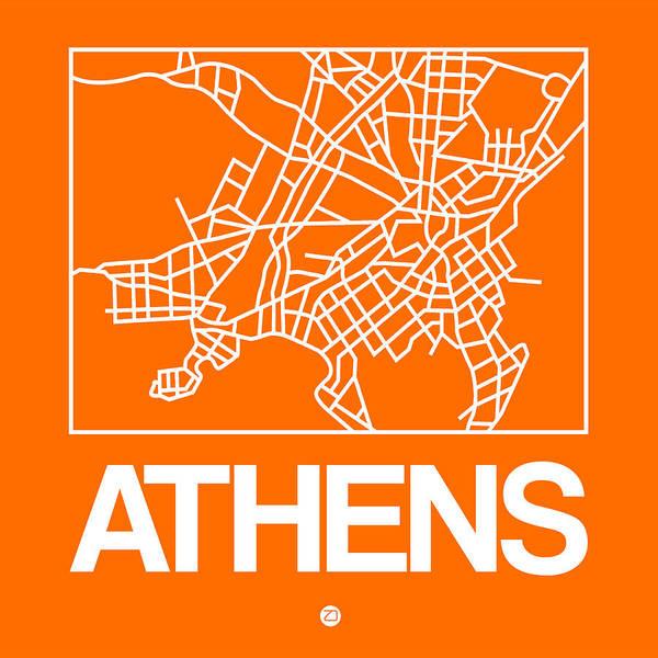 Wall Art - Digital Art - Orange Map Of Athens by Naxart Studio