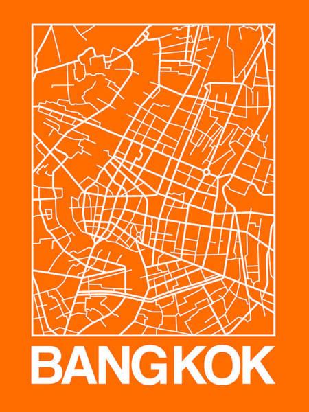 Wall Art - Digital Art - Orange Map Of Bangkok by Naxart Studio