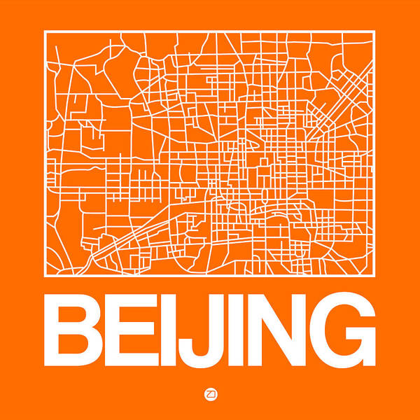 Wall Art - Digital Art - Orange Map Of Beijing by Naxart Studio