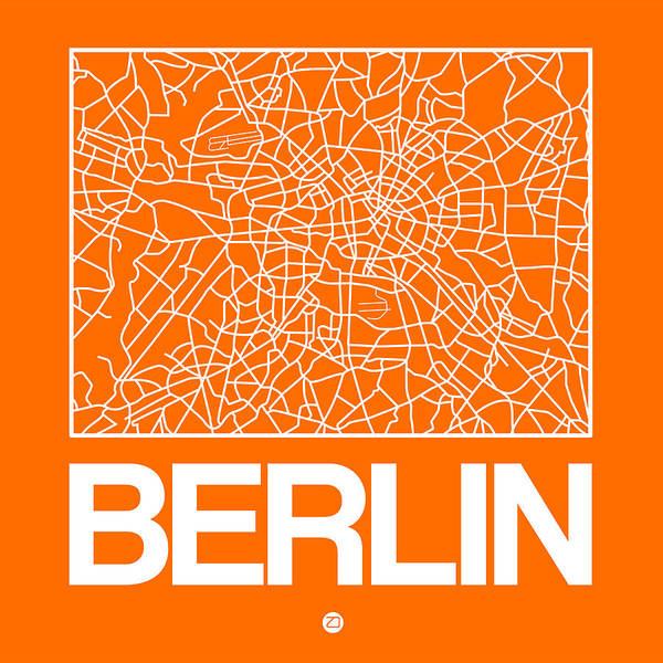 Wall Art - Digital Art - Orange Map Of Berlin by Naxart Studio