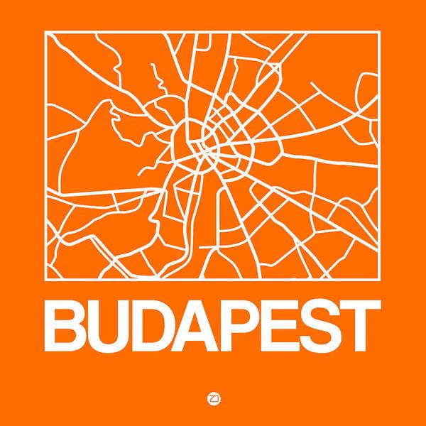 Wall Art - Digital Art - Orange Map Of Budapest by Naxart Studio