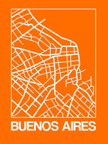 Wall Art - Digital Art - Orange Map Of Buenos Aires by Naxart Studio