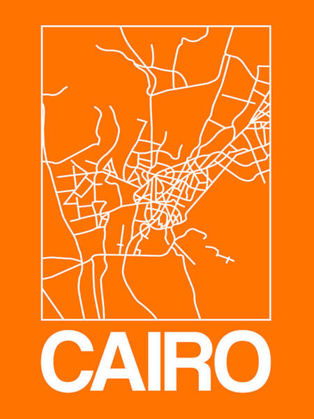 Egypt Digital Art - Orange Map Of Cairo by Naxart Studio
