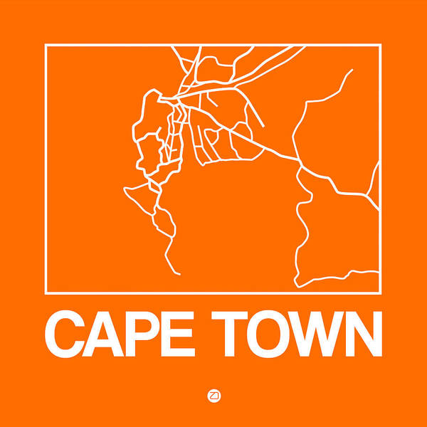 Wall Art - Digital Art - Orange Map Of Cape Town by Naxart Studio