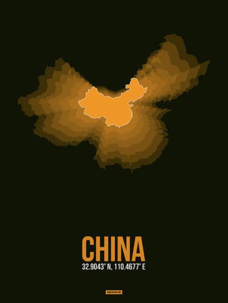 Wall Art - Digital Art - Orange Map Of China  by Naxart Studio
