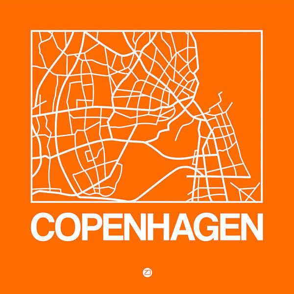 Wall Art - Digital Art - Orange Map Of Copenhagen by Naxart Studio