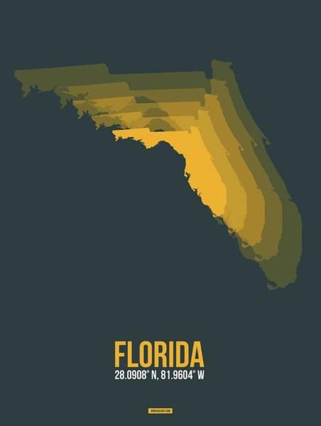 Wall Art - Digital Art - Orange Map Of Florida by Naxart Studio