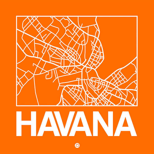 World Traveler Wall Art - Digital Art - Orange Map Of Havana by Naxart Studio