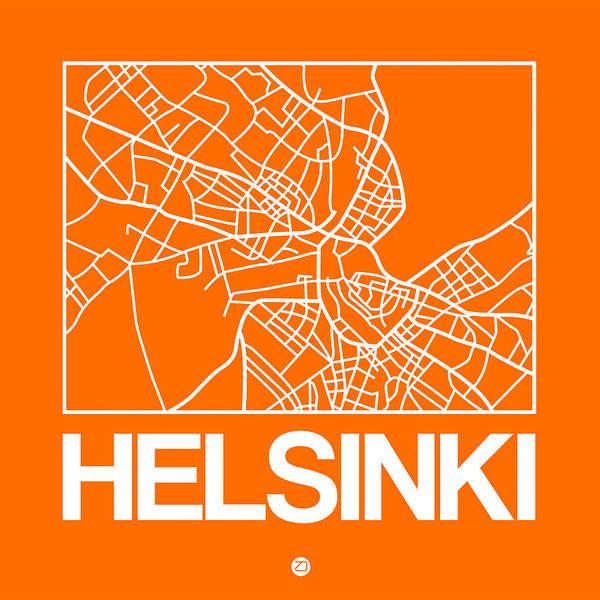 Wall Art - Digital Art - Orange Map Of Helsinki by Naxart Studio