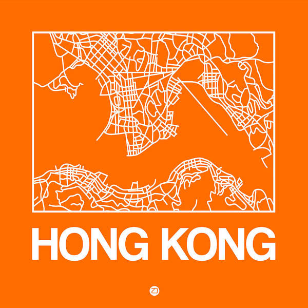 Wall Art - Digital Art - Orange Map Of Hong Kong by Naxart Studio