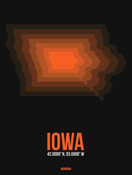 Wall Art - Digital Art - Orange Map Of Iowa by Naxart Studio