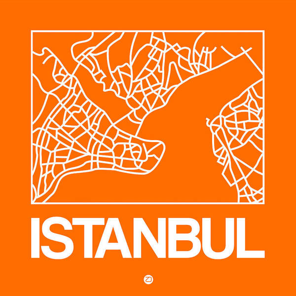 Wall Art - Digital Art - Orange Map Of Istanbul by Naxart Studio