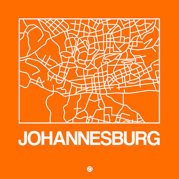 World Traveler Wall Art - Digital Art - Orange Map Of Johannesburg by Naxart Studio