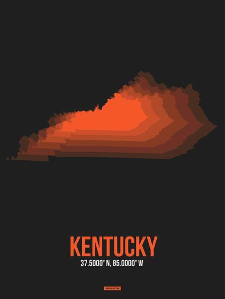 Wall Art - Digital Art - Orange Map Of Kentucky by Naxart Studio