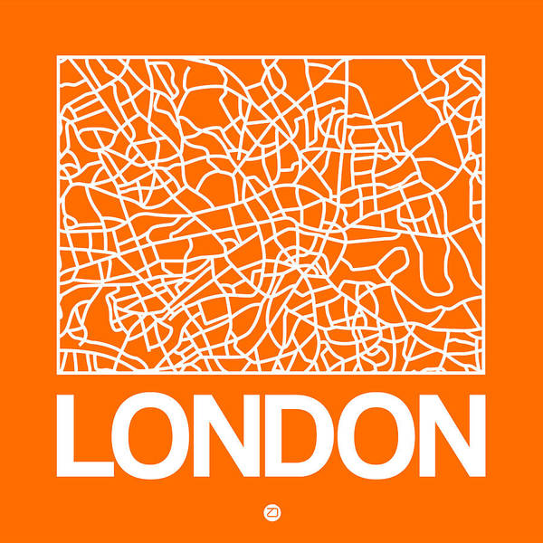 World Traveler Wall Art - Digital Art - Orange Map Of London by Naxart Studio