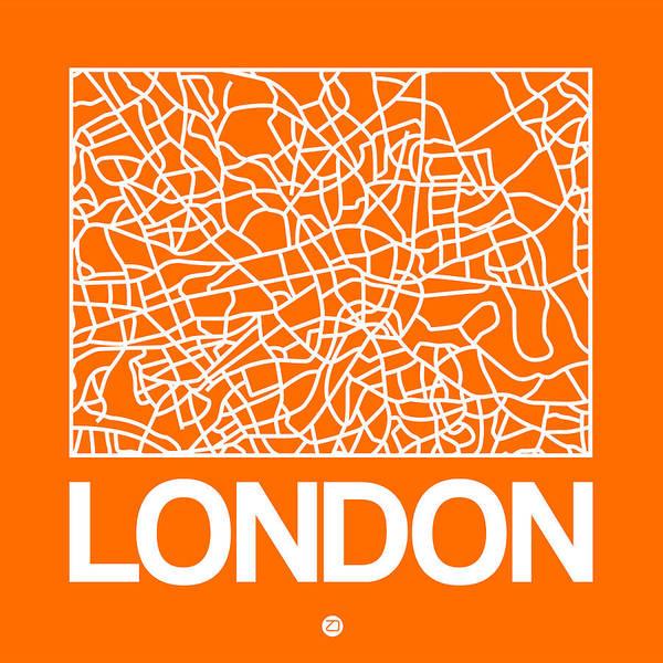 Wall Art - Digital Art - Orange Map Of London by Naxart Studio