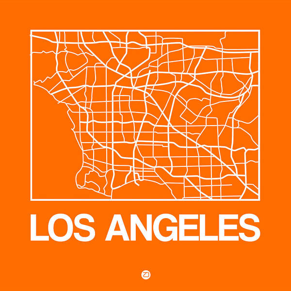 World Traveler Wall Art - Digital Art - Orange Map Of Los Angeles by Naxart Studio
