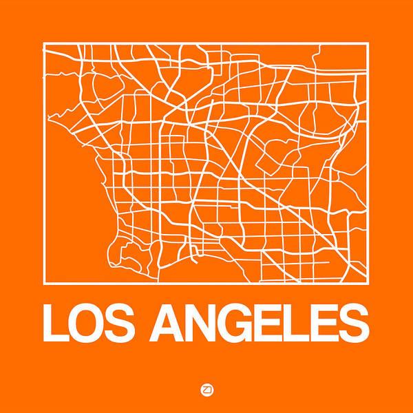 Wall Art - Digital Art - Orange Map Of Los Angeles by Naxart Studio
