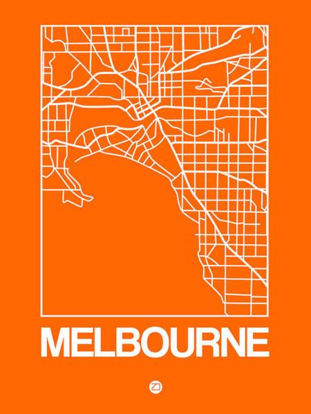 Melbourne Wall Art - Digital Art - Orange Map Of Melbourne by Naxart Studio