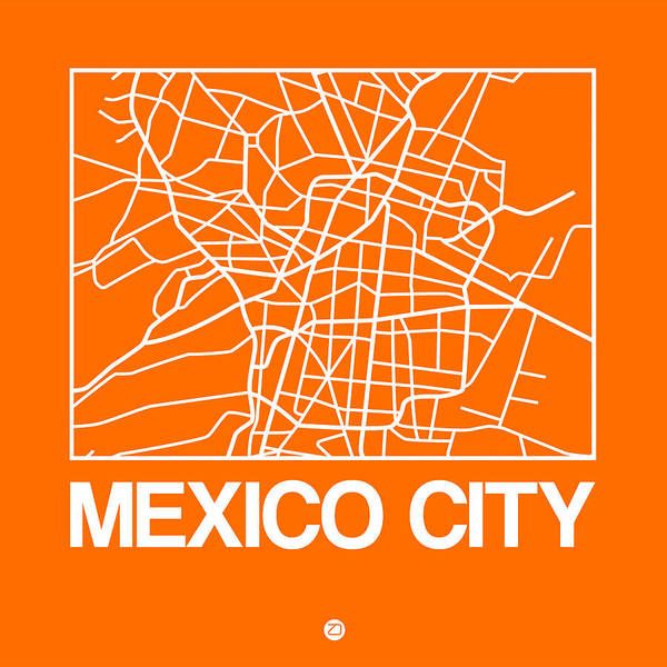 World Traveler Wall Art - Digital Art - Orange Map Of Mexico City by Naxart Studio