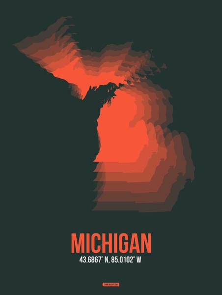 Wall Art - Digital Art - Orange Map Of Michigan by Naxart Studio