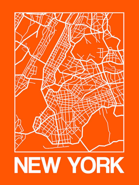 Wall Art - Digital Art - Orange Map Of New York by Naxart Studio