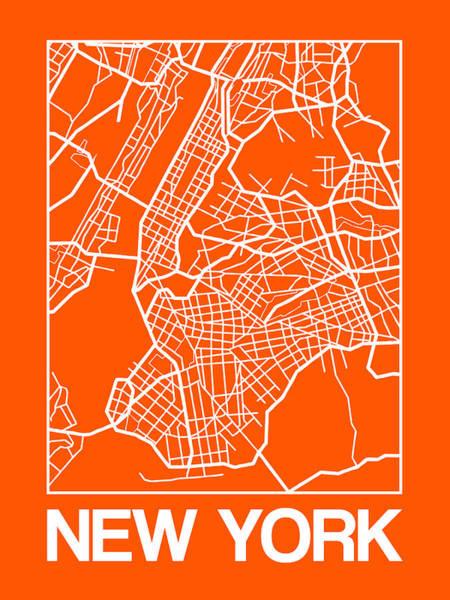 Downtown Digital Art - Orange Map Of New York by Naxart Studio