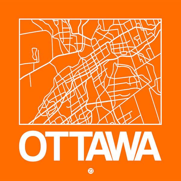 Wall Art - Digital Art - Orange Map Of Ottawa by Naxart Studio