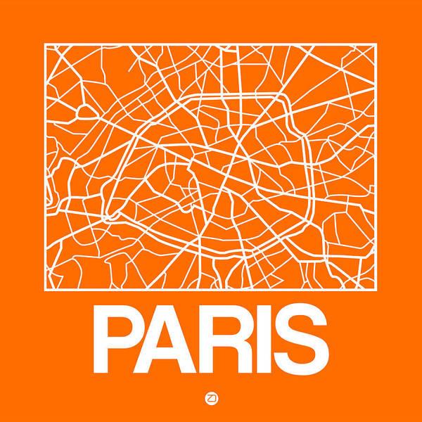 Wall Art - Digital Art - Orange Map Of Paris by Naxart Studio