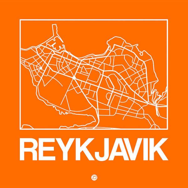 Wall Art - Digital Art - Orange Map Of Reykjavik by Naxart Studio