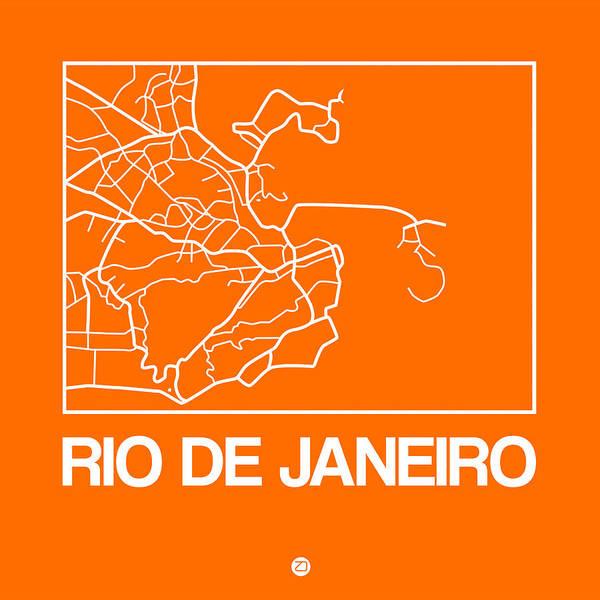Wall Art - Digital Art - Orange Map Of Rio De Janeiro by Naxart Studio