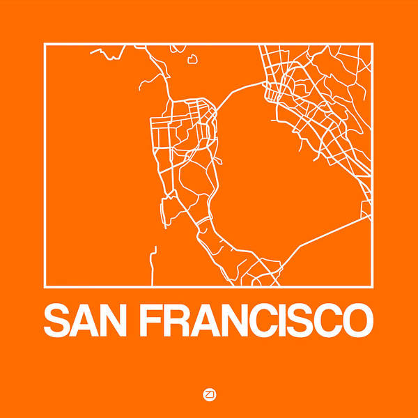 World Traveler Wall Art - Digital Art - Orange Map Of San Francisco by Naxart Studio