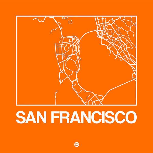 Wall Art - Digital Art - Orange Map Of San Francisco by Naxart Studio