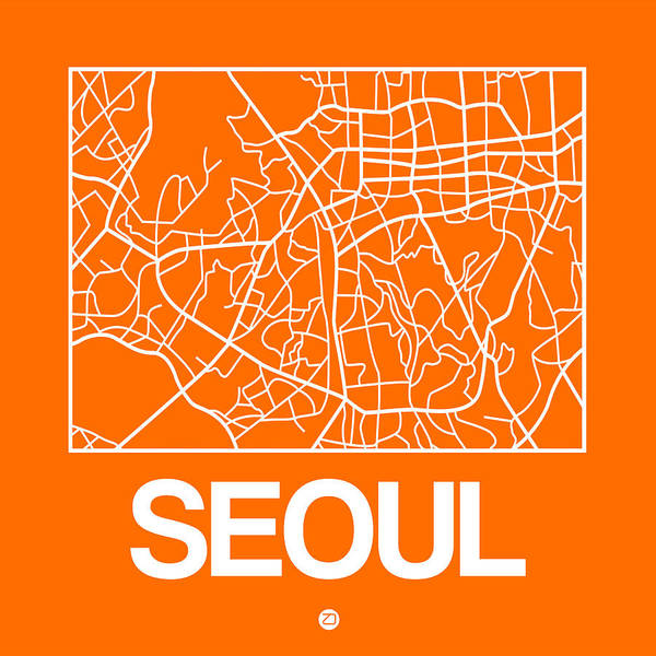 World Traveler Wall Art - Digital Art - Orange Map Of Sao Paulo by Naxart Studio