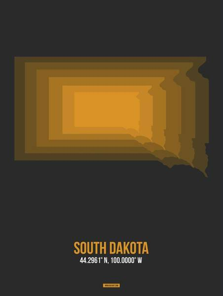 Wall Art - Digital Art - Orange Map Of South Dakota by Naxart Studio